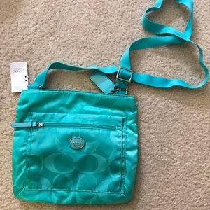 NWT COACH Turquoise crossbody bag
